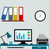 Modern office interior with seo desktop Stock Images