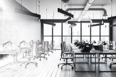 Modern office interior sketch stock illustration