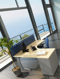 Modern office interior with spledid seascape view Royalty Free Stock Photography
