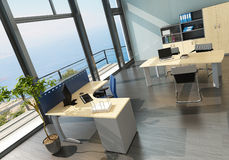 Modern office interior with spledid seascape view Stock Photos