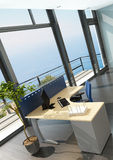 Modern office interior with spledid seascape view Royalty Free Stock Photo