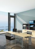 Modern office interior with spledid seascape view Stock Images