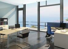 Modern office interior with spledid seascape view stock illustration