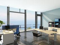 Modern office interior with spledid seascape view Royalty Free Stock Images