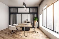 Modern office interior. Modern wooden office interior with furniture, city view and daylight. 3D Rendering stock illustration