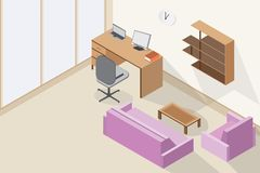 Modern office interior and wooden table, purple sofa design vector illustration. room isometric style.  Royalty Free Stock Photo