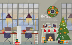 Modern Office Interior Workplace with decorations for the New Year. Royalty Free Stock Images