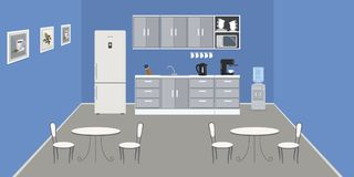 Modern office kitchen in a blue color. Dining room in the office. There is a fridge, tables, chairs, a microwave, a kettle and a water cooler in the image royalty free illustration
