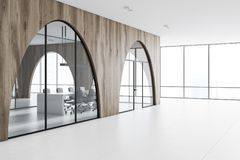 Modern office lobby, black walls, arches side view. Modern office lobby with a white floor, arched light wooden walls and panoramic windows. 3d rendering mock up Royalty Free Stock Photos