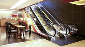 Modern office lobby. With escalators and furniture Stock Photo