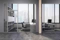 Gray and wooden space office lobby side Royalty Free Stock Photo
