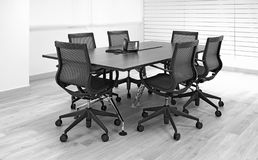 Office furniture table and chairs. Modern office meeting room with furniture including stylish table and chairs stock images