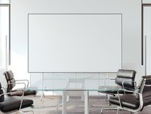 Modern office for negotiations with whiteboard. 3d rendering. Modern office for negotiations with blank whiteboard. 3d rendering Stock Photos
