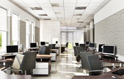 Modern office open space design. Modern office design interior. Open space room royalty free stock image