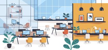Modern office or open space with desks, computers, chairs. Comfortable co-working area or shared workplace full of. Stylish furniture and interior decorations vector illustration