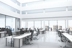 Modern office with open space and large windows vector illustration