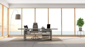 Modern office overlooking the sea Royalty Free Stock Photos