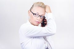 Modern Executive Businesswoman On Smartphone Royalty Free Stock Photos