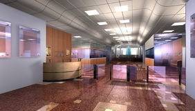 Modern office reception. Realistic 3d interior of modern office building lobby with reception desk, barrier and spacious foyer