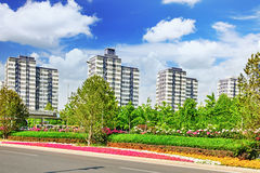 Modern office and residential buildings on the streets of Beijing,China stock images