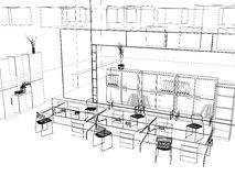The modern office sketch royalty free illustration