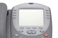 Modern office system phone with large LCD screen. On white Royalty Free Stock Photography