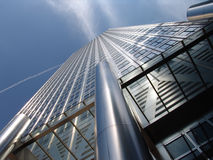 Modern office tower in London. Steel and glass office tower in Canary Wharf London royalty free stock photo