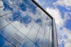 Modern office under blue sky. Modern glass window office under blue sky (perspective view Royalty Free Stock Photos