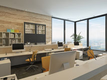 Modern Office with Work Stations in high rise Royalty Free Stock Photo