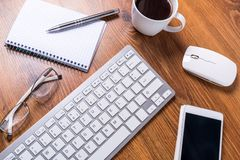 Modern office workplace. With a cup of coffee Royalty Free Stock Photography
