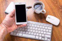 Modern office workplace. With a cup of coffee Royalty Free Stock Images