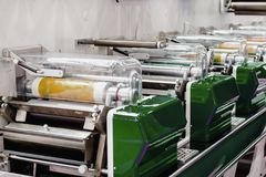 Modern offset printing machine. Polygraphic and publishing equipment royalty free stock images