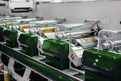 Modern offset printing machine. Polygraphic and publishing equipment royalty free stock photo