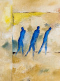 Modern oilpainting of three people walking. Modern abstract oilpainting on canvas of three people walking together in one direction. The group of people could be Stock Photos