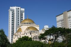 Modern and old architecture. St. Pauls Cathedral at the OPaulista avenue in Sao Paulo, Brasil Stock Photo