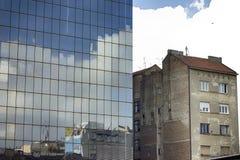 Modern and old architecture. In Belgrade, Slavija, Serbia Royalty Free Stock Image