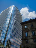 Modern and old architecture in the financial district of Frankfurt, Germany. Fascinating modern architecture in one of the most dynamic business environments in Stock Photos