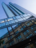 Modern and old architecture in the financial district of Frankfurt, Germany. Fascinating modern architecture in one of the most dynamic business environments in Stock Photography