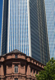 Modern and old architecture in the financial district of Frankfurt, Germany. Office buildings in one of the most fascinating financial areas of Europe Royalty Free Stock Photos