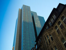Modern and old architecture in the financial district of Frankfurt. Office buildings in one of the most fascinating financial areas of Europe Stock Photography
