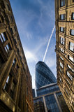 Modern and old architecture in London. Modern and old contrasting architectural styles in city of London financial area Royalty Free Stock Photography