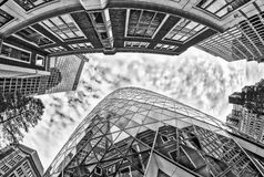 Modern and old buildings of London. Fisheye view from street lev Royalty Free Stock Photo