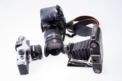 Modern and old cameras Royalty Free Stock Images
