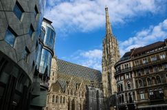 Modern and Old. City center of Vienna, Austria, with Stephansdom and modern buildings Royalty Free Stock Images