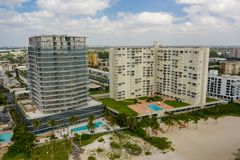 Modern and old condominiums Pompano Beach FL. Shot with drone stock photo