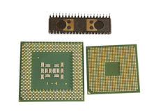 Modern and old CPU Stock Photo