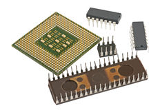 Modern and old CPU Royalty Free Stock Photo