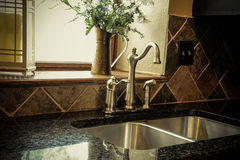 Modern old fashioned kitchen sink Stock Photography