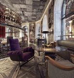 Modern Old Fashioned Restaurant Lounge Bar. 3D Rendering royalty free stock photos