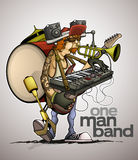 Modern one man band Royalty Free Stock Image